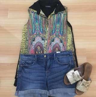 Printed sheer sleeveless blouse