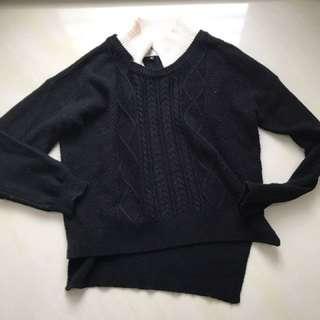 🚚 Double黑拼接領毛衣
