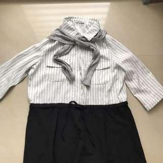🚚 領巾可拆雪紡條紋洋裝