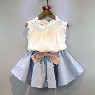 9048 Sleeveless Shirt with Beaded Skirt Two-piece Kids Suit