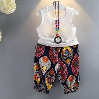81739 Vintage Sleeveless Shirt with Floral Pattern Beach Kids Pants