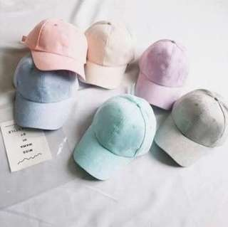 Plain pastel caps