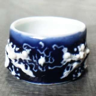 Rare blue glaze pile white twin dragon play pearl bird feeding jar, 稀有蓝釉堆白双龙戏珠鸟食罐