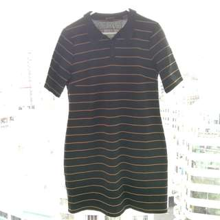 Ben Sherman black with tan stripes shirt dress, size L