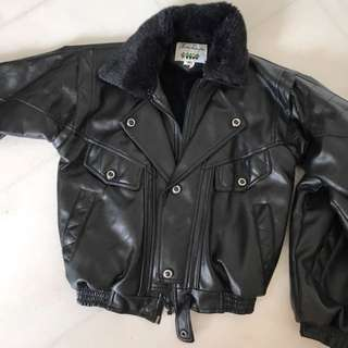 Winter leather jacket for children