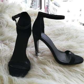 Asos black suede strappy high heels, size 6 (fits 7-7.5)