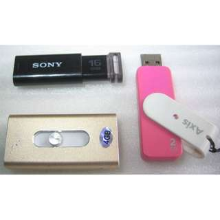 Sony 16GB, Imation Axis 2GB, unknown 4GB . thumbdrive, flash drive