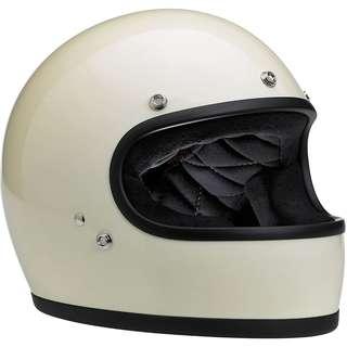 Biltwell Gringo Full Face Helmet Gloss Vintage White, Large Motorcycle Motorbike Cafe Racer Helmet