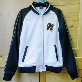 Nike白色鋪棉棒球外套