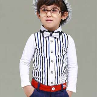 1004 Smart Stripe Pattern Long Sleeved Kids Shirt