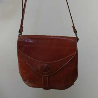 Bonia brown genuine leather messenger bag