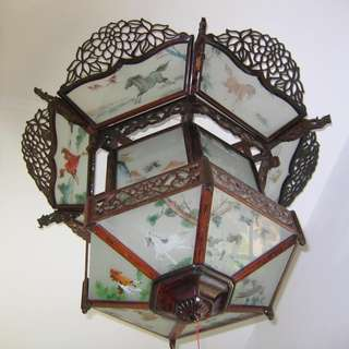 No 22    Glass & Wood Lantern (Lamp Shade)