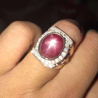 Authentic Ruby & diamonds on 24k gold ring
