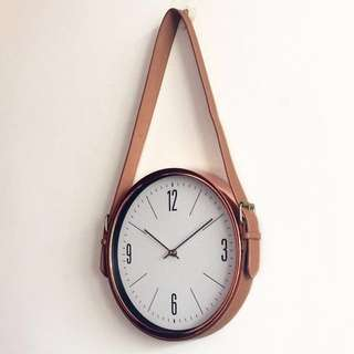 Hanging Leather Rose Gold Clock