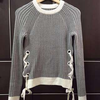 🚚 6IXTY8IGHT灰色綁帶毛衣
