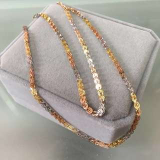 18k three colours gold necklace頸鍊
