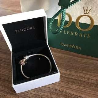 PANDORA Bracelet and Rose Charm: Good As New!