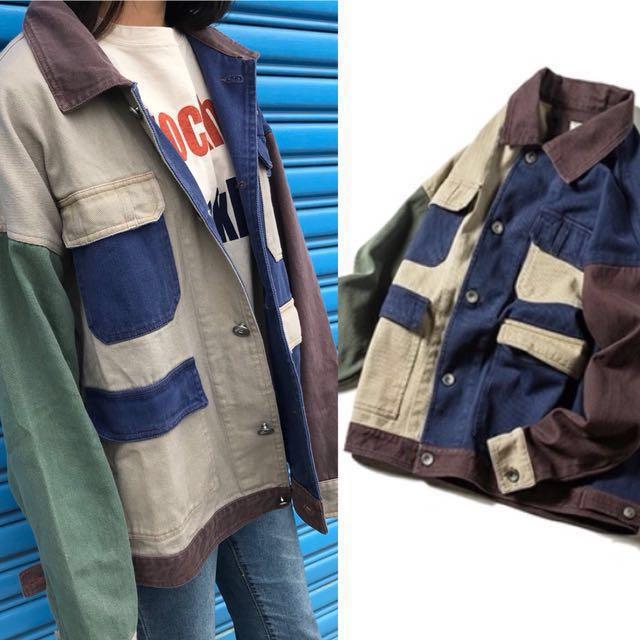 1532 Agari 日本 卡其 翻領 藍 口袋 大地 拼接 工作 夾克 外套