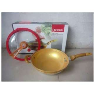 Panci Gold Emas Pressure Cooker Dessini 32 Cm Wok 2 in 1
