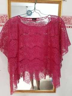Kebaya / cape brocade / outer brocade pink fushia