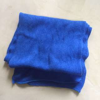 圍巾 圍脖 素色 寶藍色 保暖
