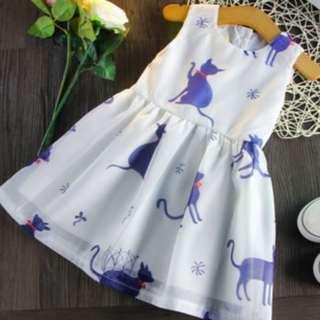 8079 Korean Cat Printed Kids Dress