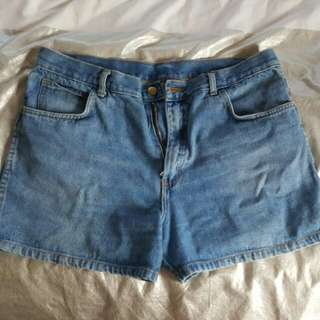 High Waist Vintage Denim Shorts - 14