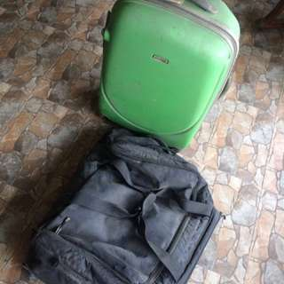 BUNDLE SALE HOLIDAY LUGGAGE AND PLAIN BLACK LUGGAGE BAGS (BLACK LUGGAGE SOLD)