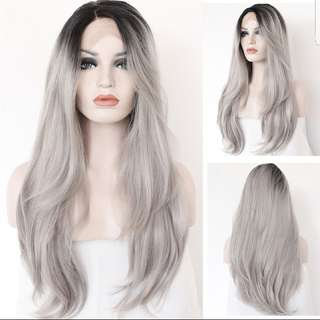 Ombre Silver Grey Lace Front Wig