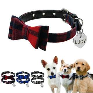 Personalized Pet ID Collar With Bell Heart Tag For Small Dogs &  Cats