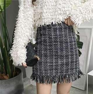 格紋流蘇短裙