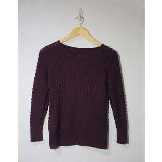 Knit Purple Sweater with Scallop Pattern (Stretchable)