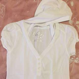 White Hoodie Blouse