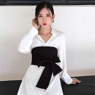 BN black bandage wrap black for oversize dress Korean style