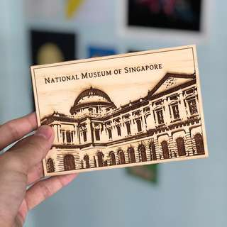 Wooden postcard National Museum of Singapore