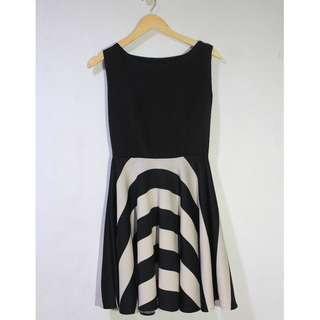 Repriced! Striped Black and White Neoprene Dress