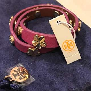 💯% Authentic ✨✨Brand 🆕🌟🌟Tory Burch Leather Double Wrap Logo Stud Bracelet with dust bag