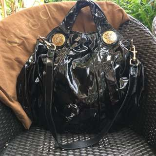 GUCCI Black Patent Leather Hysteria Large Top Handle