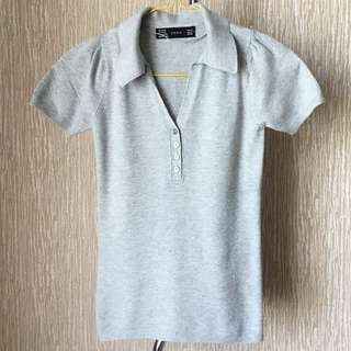 Zara Knit Grey Polo Shirt