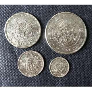 明治三十八年龍銀套幣~一圓/50錢/20錢/10錢各一枚