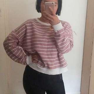 Pink stripy crop jumper