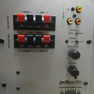 Polkaudio 5.1, 12吋强勁底音,體積雖少,但可以有意想不到的驚人效果,分析力強,9成9新。有意請 P M或留電話。Thanks !