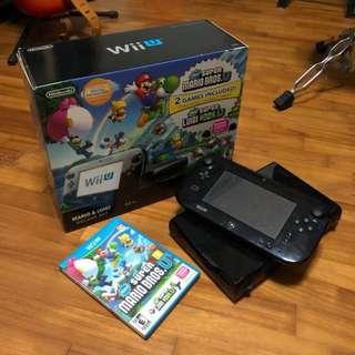 Wii U 32GB New Super Mario Bros U Black Bundle Set + Zelda Breath of the Wild