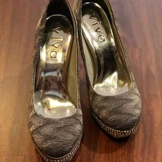 VIVA銀灰色亮鑽高跟鞋24cm
