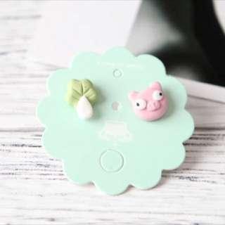 Handmade Pig & Vege Clay Earrings