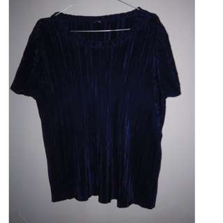 A027 PLEATED CROP TOP NAVY SIZE EU S