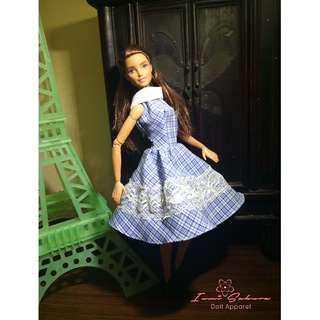 Blue Checkered Collar Dress Barbie Dress