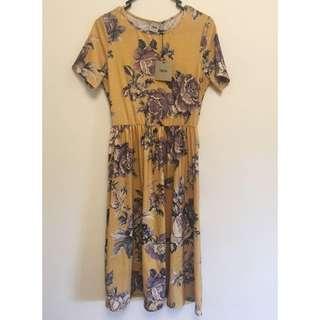 ASOS Mustard Midi Dress w Floral Print - Size 10