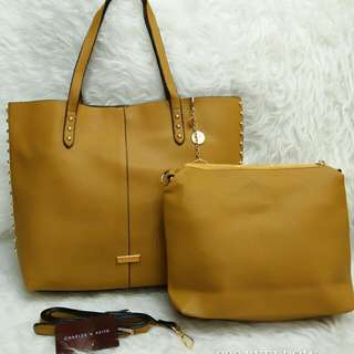 Charles & Keith Tote Bag 2 in 1Mustard Yellow