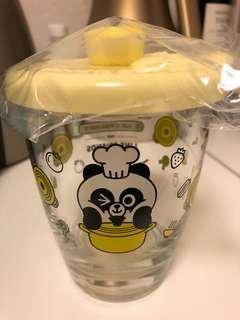 全新,Pangyo 圓形鍋,連蓋玻璃杯